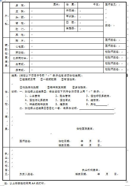 护士注册体检表_陕西省护士执业注册健康体检表下载_希赛网