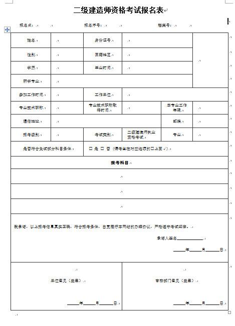 2018年湖南二建报名表图片