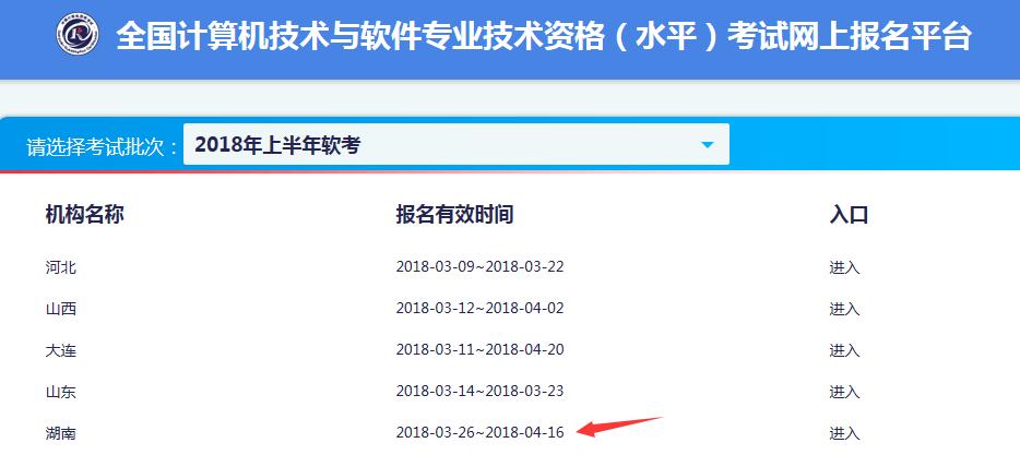 2018年上半年湖南软考报名通知