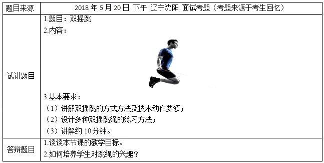 2018上半年小学体育教师资格证面试真题(第四批)考题回顾1
